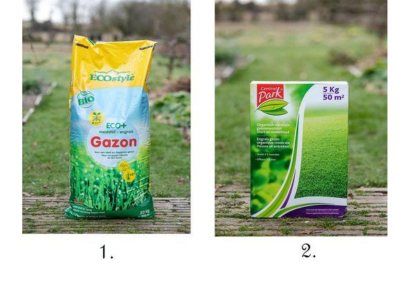 De dure soorten, 1. Ecostyle Eco+ Gazon, en 2. Central Park (Brico) Start en Onderhoud