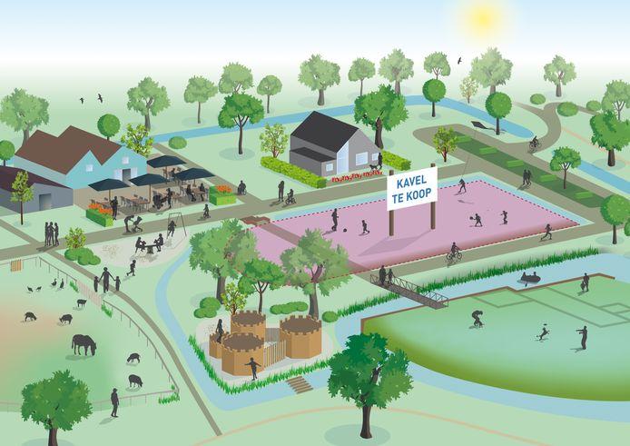 Impressie van de geplande nieuwbouw in Park de Stadshoeve in Stadshagen, Zwolle.