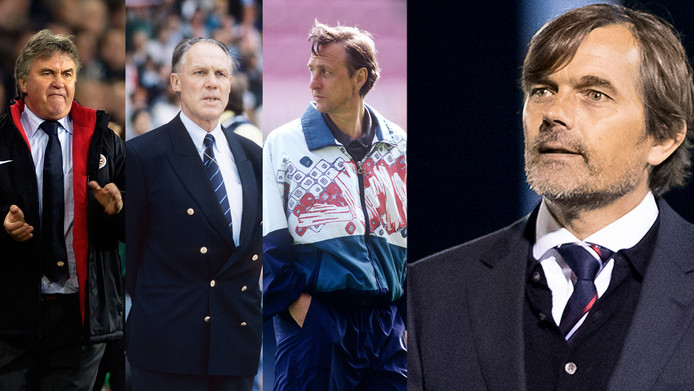 Vlnr: Guus Hiddink, Rinus Michels, Johan Cruijff en Phillip Cocu.