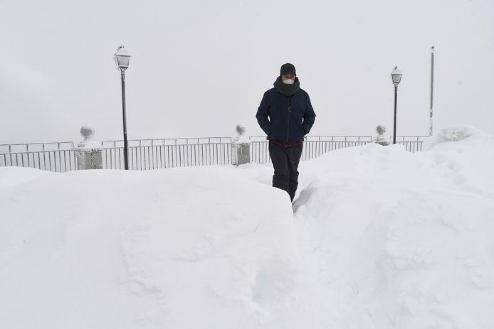 Hevige sneeuwval in Pajares (Asturië)