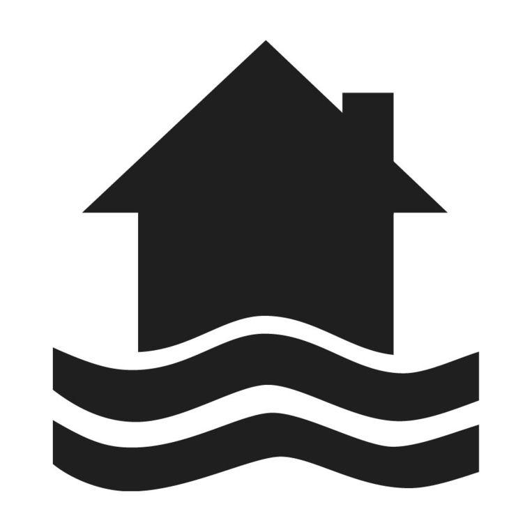 Het logo dat een huis in het water afbeeldt.