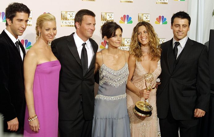 David Schwimmer, Lisa Kudrow, Matthew Perry, Courteney Cox, Jennifer Aniston en Matt LeBlanc (vlnr) speelden tien seizoenen lang in Friends.