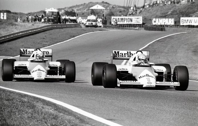 Archieffoto van de GP Zandvoort uit 1985: Alain Prost zij aan zij met Niki Lauda.