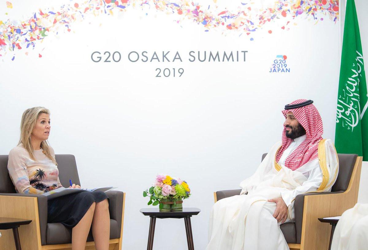 Maxima ontmoette Mohammed bin Salman tijdens de G20 in Saudi Arabië