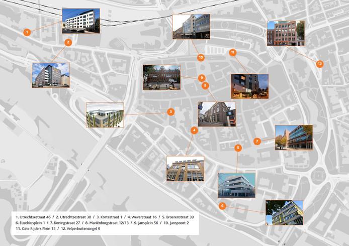 De Metamorfosenroute door Arnhemse binnenstad langs twaalf gebouwen die een nieuwe functie hebben gekregen.