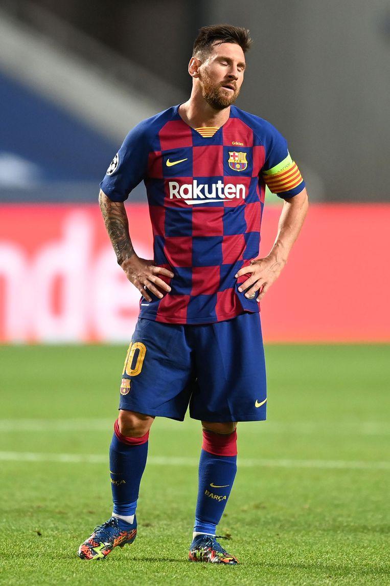 Lionel Messi, eerder deze maand tijdens de afstraffing (8-2) van zijn ploeg door Bayern München in de Champions League. Beeld BSR Agency