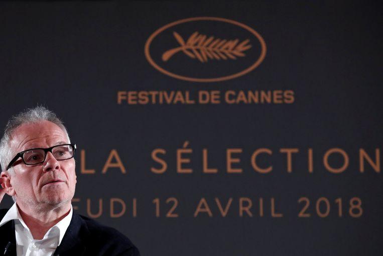 Parijs - De directeur van Cannes, Thierry Frémaux, tijdens de aankondiging van de officiële selectie voor de 71ste editie van het filmfestival Beeld Reuters