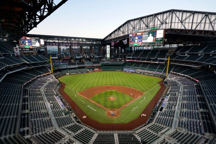 Globe Life Field in Arlington, het stadion van Texas Rangers, is dit jaar het decor voor de World Series.