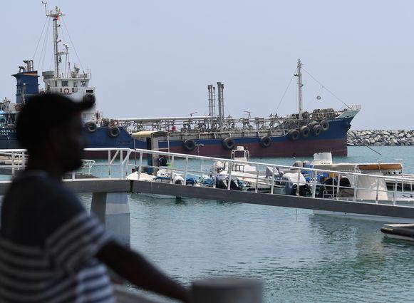 Een schip in de haven van Fujairah in het oosten van de Verenigde Arabische Emiraten.