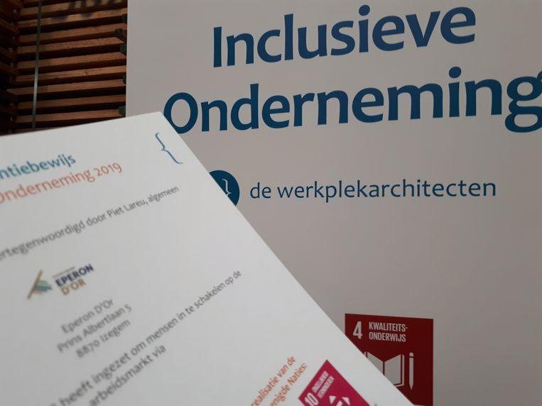 De erkenning als inclusieve onderneming van Eperon d'Or.
