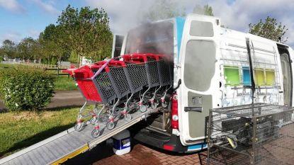 Carwash-systeem maakt winkelkarren virusvrij