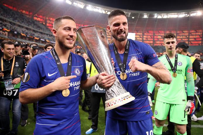 De twee uitblinkers vanavond: Eden Hazard en Olivier Giroud.