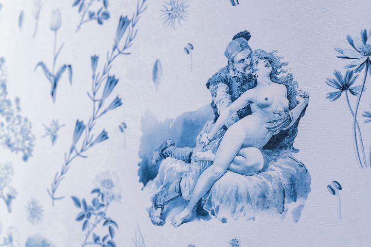 Detail uit 'Balkangreuel', te zien op de tentoonstelling. Beeld Lana Čmajčanin