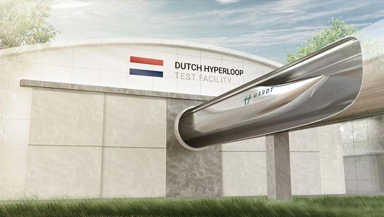 Impressie van een deel van het systeem dat Hardt Hyperloop wil bouwen tussen Schiphol en Frankfurt am Main. Beeld Hardt Hyperloop