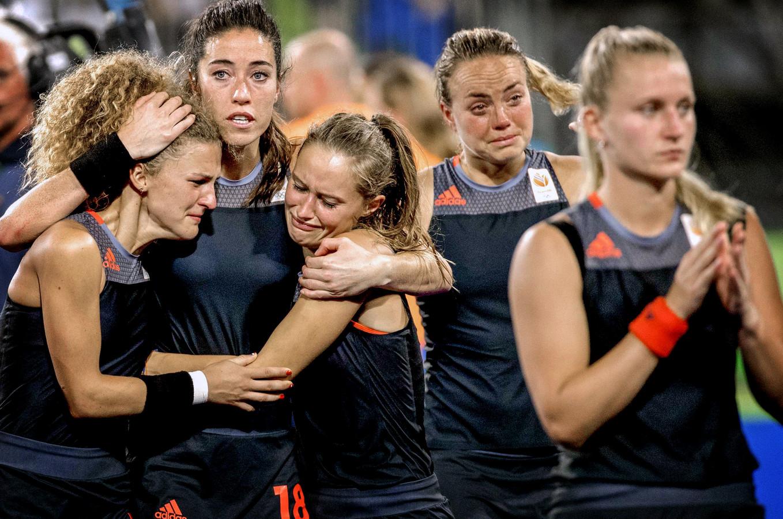 Rio 2016: het verdriet is groot bij Oranje na de nederlaag tegen Groot-Brittannië.