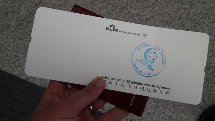 Wie businessclass vliegt krijgt een pandastempel op het ticket.