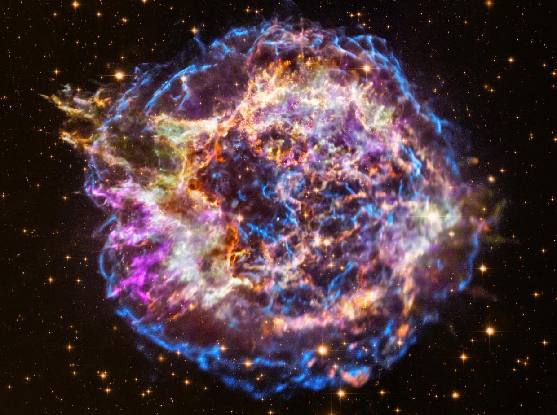 De overblijfselen van een supernova-explosie op zo'n 11 duizend lichtjaar afstand van de aarde. Als dergelijke ontploffingen dichterbij plaatsvinden, vormen ze een groot risico voor het aardse leven.  Beeld NASA/STScI
