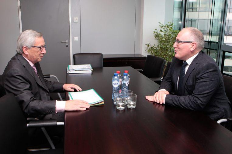 Timmermans op gesprek bij Juncker Beeld Foto EPA