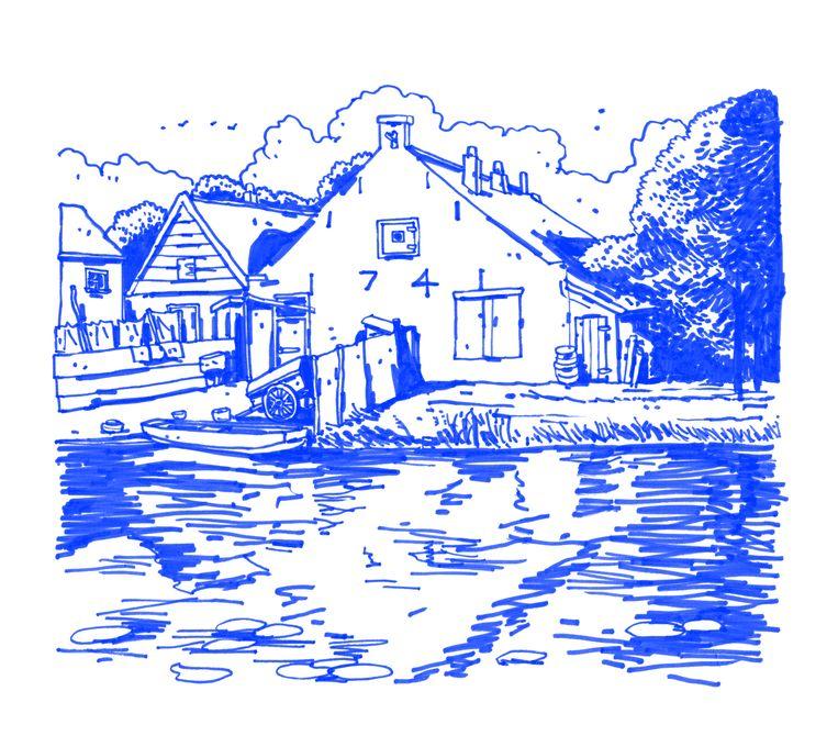Bootje en handkar zijn verdwenen, verder is dit huis onveranderd sinds Mondriaan het in 1900 schilderde. Beeld Joost Stokhof