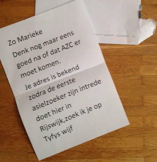 De brief die raadslid Marieke Alberts kreeg.