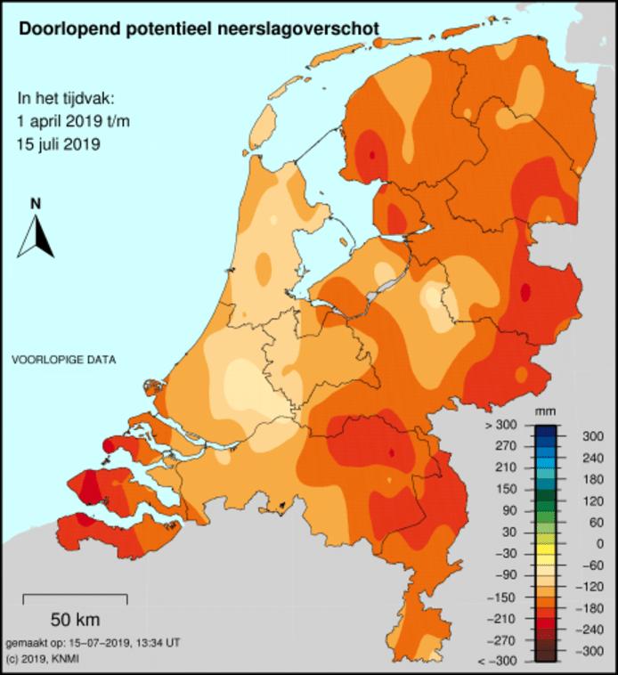 Neerslagtekort in Nederland.