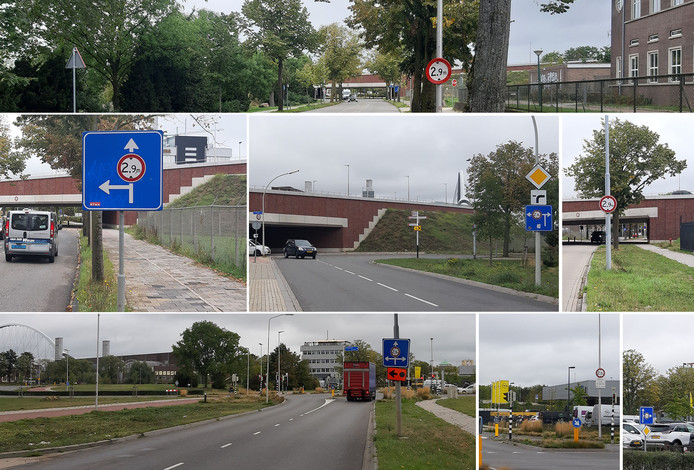 Bebording op de toegangswegen tot het lage viaduct van de Oversteek in de Weurtseweg in Nijmegen.