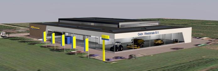 Ontwerp van het nieuwe gebouw van landbouwmachinebedrijf Gebr. Weststrate.
