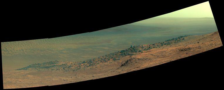 Wharton Ridge, deel van de zuidelijke muur van Marathon Valley, aan de westelijke rand van de Endeavour Crater. Beeld Nasa