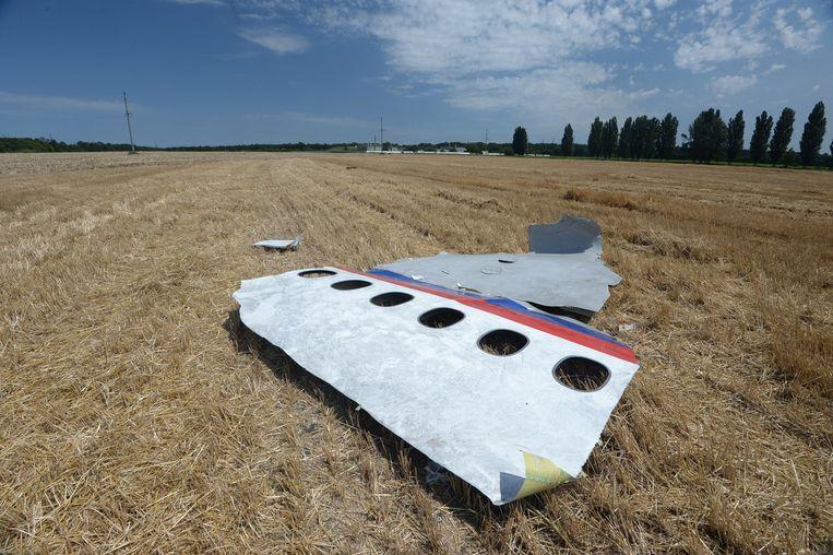 Wrakstukken van de MH17 bij het dorpje Grabovo in het oosten van Oekraïne, ruim een week nadat het toestel op 17 juli 2014 was neergehaald. Alle 298 inzittenden kwamen om. Beeld Mikhail Voskresenskiy / RIA Novosti