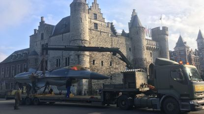 VIDEO: F-16 siert Het Steen in Antwerpen