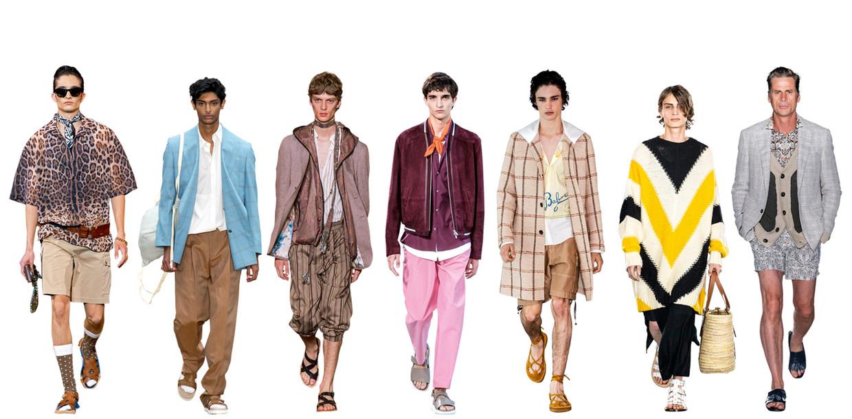 Vanaf links: Dolce & Gabbana, E. Tautz, Etro, Hermès, Lanvin, Loewe, Pal Zileri. Beeld Imaxtree