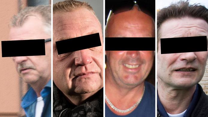 Willem A. (links) ontkent dat hij 2800 kilo wiet heeft gesmokkeld. Hij zou daarbij hulp gehad hebben van douanier Gerrit G. (tweede van rechts).