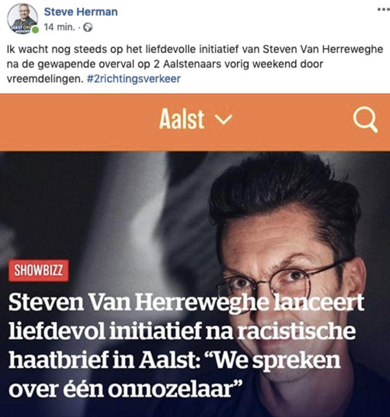Steve Herman van VB geeft Steven Van Herreweghe een sneer op Facebook.