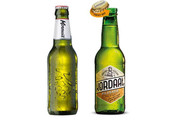 Links Kornuit bier, rechts de variant van de Lidl: Kordaat