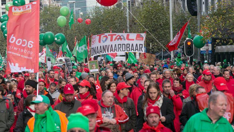 De nationale betoging van het gemeenschappelijk vakbondsfront tegen het federale regeerakkoord, op 6 november vorig jaar.