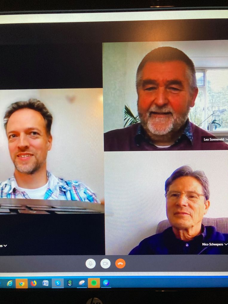 Rob, Leo en Nico in Skype-overleg. Beeld