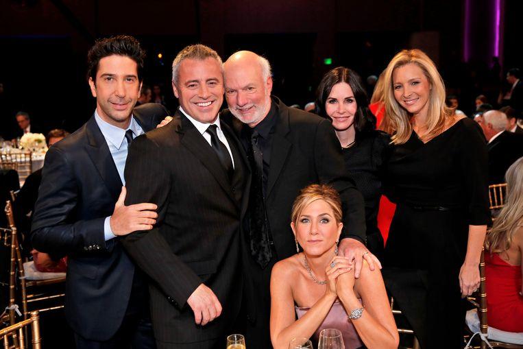 David Schwimmer, Matt LeBlanc, director James Burrows, Jennifer Aniston, Courteney Cox en Lisa Kudrow.