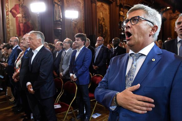 Van Dijck vanmiddag in het Brusselse stadhuis.