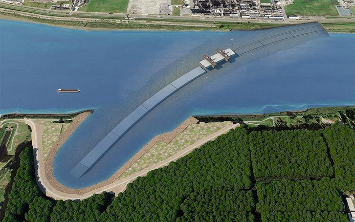 Simulatie van de nieuwe Scheldetunnel. De tunnelelementen worden op voorhand gefabriceerd en vervolgens afgezonken in de Schelde.