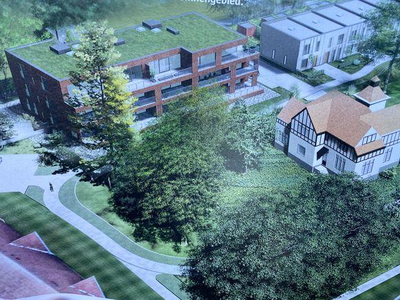De bouwwerf: momenteel wordt de kelder gegraven voor het gebouw met het groendak, ook het parkje voor dat gebouw zal nieuw worden aangelegd