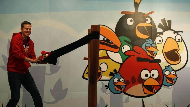 Henri Holm van Rovio Entertainment met Angry Birds-speelgoed. Beeld reuters