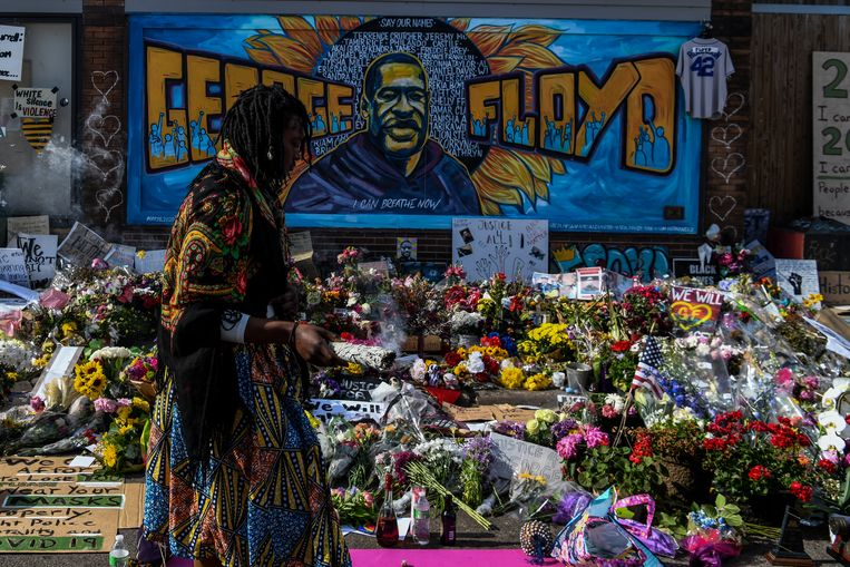 Herdenkingsplaats voor George Floyd in Minneapolis, Minnesota. Beeld AFP