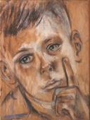 Een van de portretten die te zien is op expositie van Bep Rietveld in Flehite; haar zoon Fons die net als zij de jappenkampen overleefde.