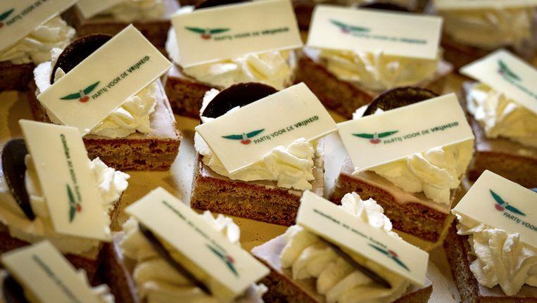 PVV-gebakjes voor de presentatie van kandidaten bij de provinciale verkiezingen. © ANP Beeld
