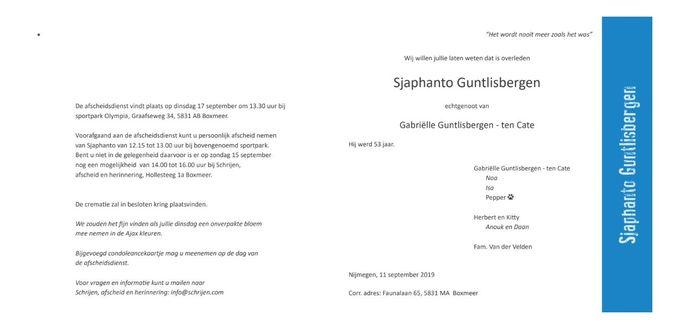 De rouwadvertentie van Sjaphanto Guntlisbergen