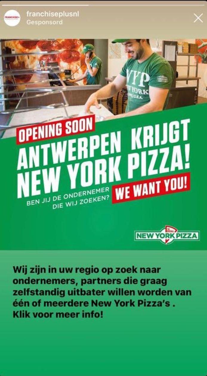 De Nederlandse fastfoodketen New York Pizza komt naar Antwerpen.
