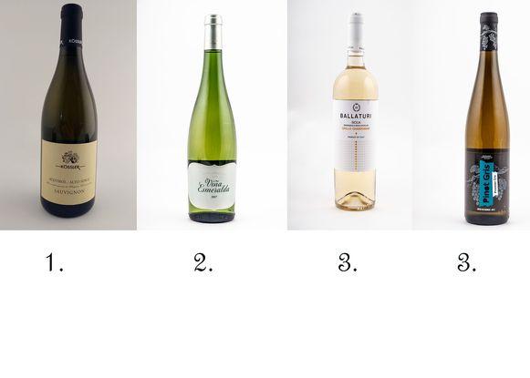 De top 3: goud voor Alto Adige Kössler, zilver voor Vina Esmeralda Torres en een gedeelde derde plaats voor Ballaturi en Domaines Vinsmoselle Pinot Gris.