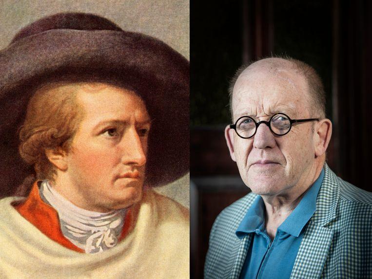 Johann Wolfgang von Goethe (geschilderd door zijn vriend J.H.W. Tischbein) en schrijver Kees 't Hart. Beeld Hollandse Hoogte, Robin Utrecht
