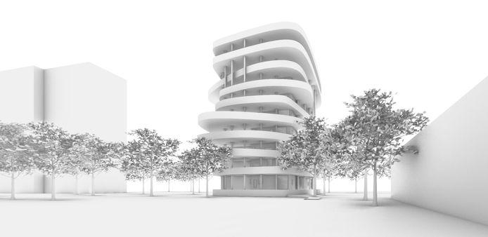 De Biltse Jenga, zoals de nieuwe woontoren wordt genoemd, wordt tien etages hoog.