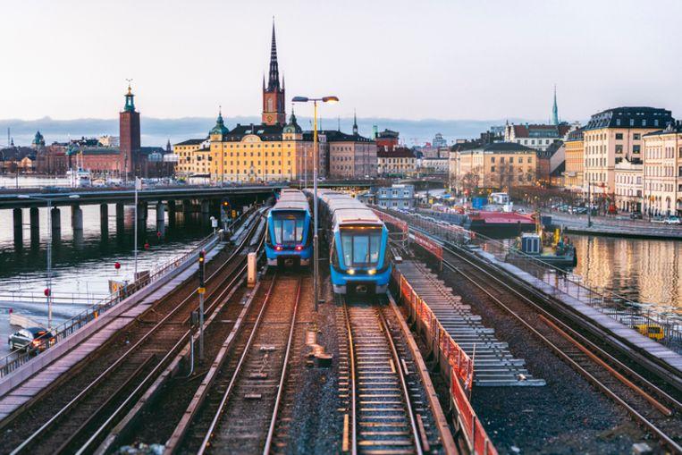 Treinen in Stockholm.